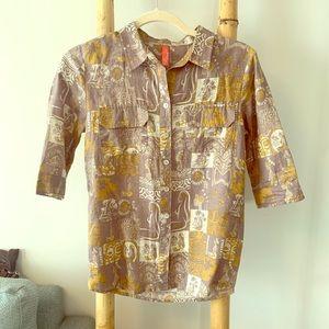 Hinano 3/4 Sleeve Button Up Small Linen Cotton